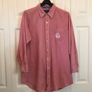 Ralph Lauren Mens Red White Striped Shirt sz S/M
